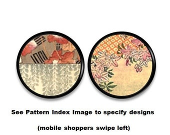 Beautiful Oriental Floral Tapestry Art Drawer Knob   Red Gray Gold Taupe  Orange, Asian Decor
