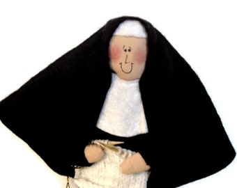 Novelty nun doll, knitting doll, gift for knitter, Funny Catholic gift, yarn lover, funny sister doll, Reverend Mother of Purl