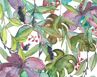 A5 Art Print / Postcard, Tropical Jungle, Illustration, Watercolor and Pen