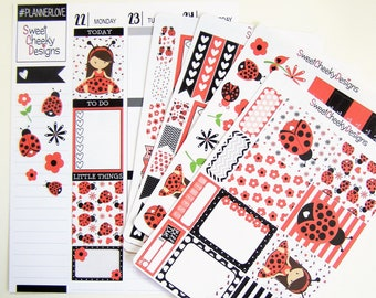 Cute Ladybugs Weekly Kit!  Available for Erin Condren Life Planner or MAMBI/Happy Planner