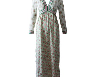 Vintage Goldoworm Pink and Green  Floral Knit Maxi Dress 1970s