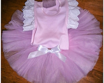 Pink Flutter Tutu with Satin  ribbon bow