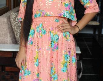 Peach Floral print Dress