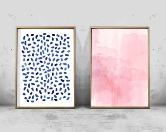 Set of 2 Abstract Watercolor Prints Blue Dots Dashes Brushstrokes Pink Minimal Minimalist Painting Large Printable Posters Scandinavian Boho