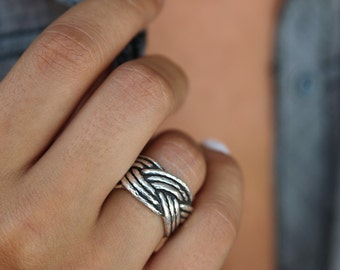 Nautical Jewelry, Nautical Ring, Nautical Braided Rope Jewelry, Silver Braided Rope, Sailboat Ring, Ring Size 4 5 6 7 8 9 10 11 12 13 14 15