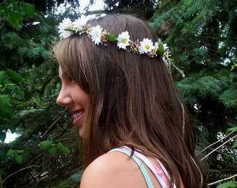 Hippie Daisy chain Flower Crown dried floral baby halo photo prop headband Bridal party accessories hair wreath Boho wedding