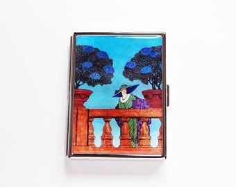 Étui à cigarettes, Design rétro, rétro des années 1920, étui à cigarettes Slim, porte-Cigarette, boîte de cigarettes, hydrangia, clapet, cadeau pour fumeur (7684S)