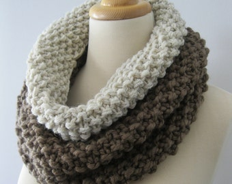 Two Tone Neutral Cowl--Taupe and Ivory