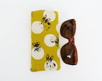 Glasses case, Boston Terrier fabric, French Bulldog fabric, novelty case