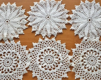 6 BEIGE Vintage Crochet Doilies, Snowflake Ornaments, Crocheted Coasters, Four Inch Doilies, Crochet Mandalas for Decorating and Crafts
