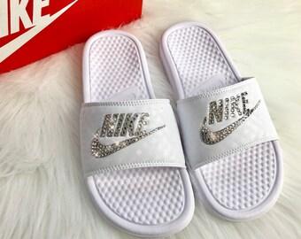 Bling Nike Slides Custom Nike Slides In White With Swarovski Crystals