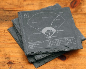 Red Sox Greatest Plays - Slate Coasters (Set of 4)
