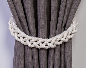 Chunky White Cotton Rope Braided Curtain Tie Backs / nautical living room window treatment/ Drape hold backs/ shabby chic curtain tiebacks
