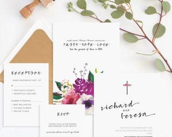 Christian Wedding Invitation • Christian Marriage • Religious Wedding Invitation • Faith Hope Love Bible Verse