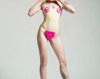 Peaches n Cream Nekked Lady Bodysuit or Bathing Suit - Free Shipping