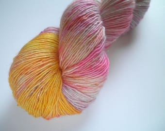 Hand dyed merino yarn, single ply, stellina sparkle, 399 yards, Eddie Sparklebutt