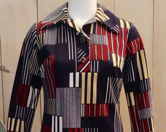 Free Shipping! Vtg. HENRY LEE Geometric Pattern Polyester Shift Dress- SIze 6-8