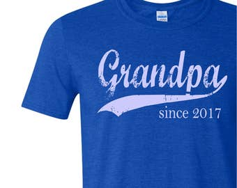 Grandpa since ANY year, custom mens tee, gifts for men, Christmas gift, screen print shirt, personalized t shirt, grandfather gift