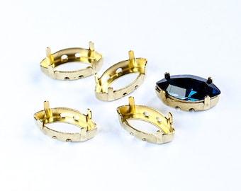 15х7 mm Gold sew-on settings for Swarovski Navette Fancy Stones