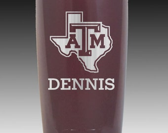 20 oz Texas A&M maroon or stainless Aggie YETI custom personalized