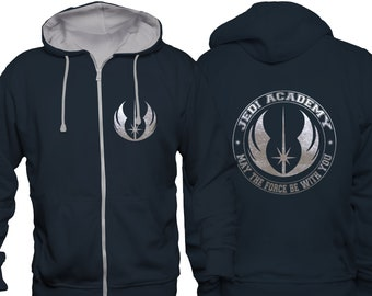 Star Wars Inspired Jedi Academy varsity hooded blue jacket with gold motif iXr8rwB
