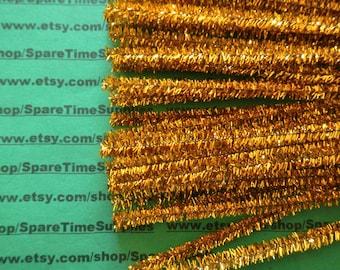 """Tinsel Stems - gold - 6 mm x 12"""" - 60 pcs - Fibre Craft - #32502-61"""