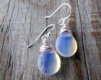 Opalite Earrings, smooth opalite drops, dangle earrings, silver earrings, simple