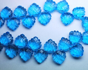 7 Inch Strand,Matched Pairs,Swiss Blue Quartz Carving Faceted Heart Shape Briolettes,12mm