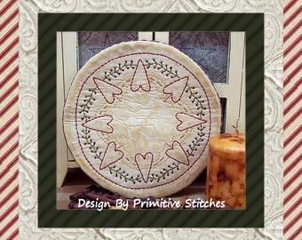 Heart Doily Candle Mat 1- by Primitive Stitches-Primitive Stitchery E-Pattern--Instant Download