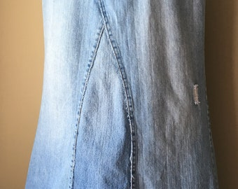 Upcycled Denim - Long Jean Skirt - Size 14