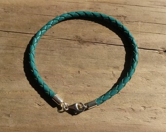 Bracelet braided leather, turquoise and Silver 925