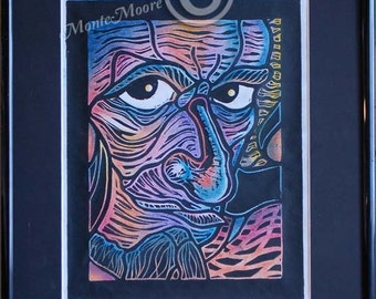 Original Block Print Hand Colored- Old Man