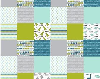 Toddler Blanket, Dinosaur Quilt, Baby Boy Quilt, Dinosaur Nursery Blanket, Teal Mint Green Gray Grey, Minky Crib Quilt, Patchwork Baby Quilt