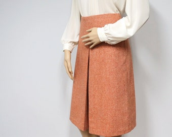 Vintage Skirt Preppy United Colors of Benetton A-Line Pleated Tweed Pumpkin Italian Made Size Waist 27 Inch