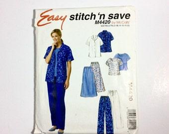 Easy Stitch 'n Save by McCall's M4420, Women's Shirt, Top, Pants, Skirt Pattern, Plus Size Pattern, Size 14, 16, 18, 20, Uncut Pattern