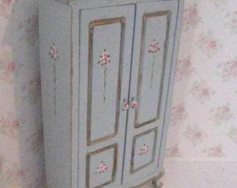 Dollhouse Wardrobe, tatty chic,duck egg blue, rosebuds , twelfth scale, a dollhouse miniature