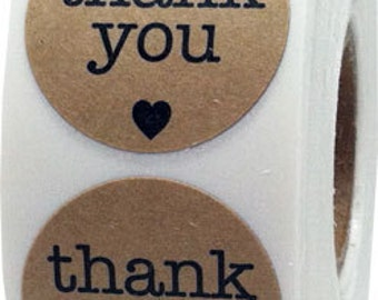 """500 Round Natural Kraft Thank You Stickers with Black Print 