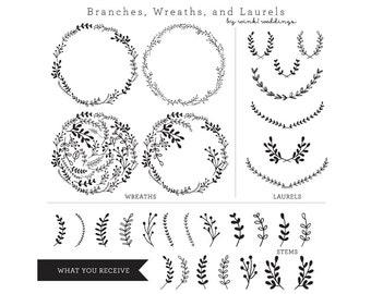Laurel Clipart / Wreaths Banners Arrows Chalk / Clip Art for Scrapbooking / Clip Art Wedding Invitations / Wedding Signs / DIY Wedding