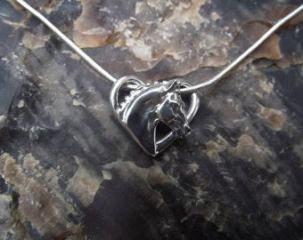 Floating dressage horse heart sterling silver pendant and chain dressage horse jewelry