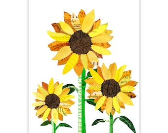 Tournesol reproduction d'Art - Art Collage Illustration impression