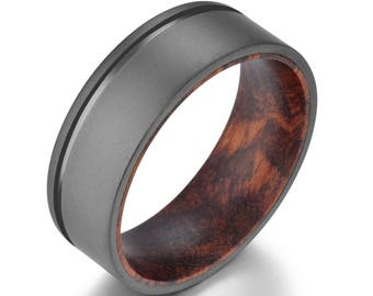 Snake Wood Mens Wedding Ring Sandblasted Gun Metal Grey Titanium Band Snake Wood Band Mens Sandblasted Titanium Ring Rings By Prisine