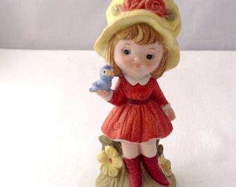 Homco Girl Figurine - Girl with Bonnet and Blue Bird