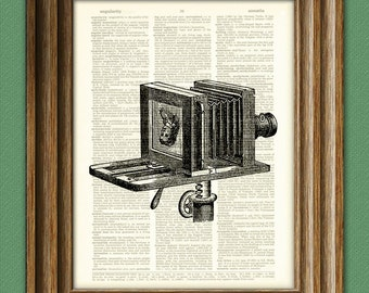 Cool BELLOWS CAMERA with womans face print over an upcycled vintage dictionary page book art