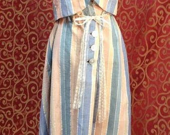"1950's, 34"" bust, two piece cotton striped sun dress"