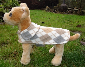 Dog Jacket - Gray Tan and White Argyle Fleece Dog Coat- Size XX Small- 8-10 Inch Back Length