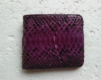 PURPLE PYTHON WALLET Genuine Python Snakeskin Bifold Wallet