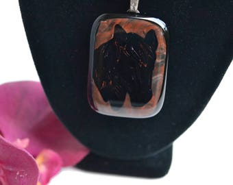 Horse Pendant, Fused Glass, Black and Brown, Unique Necklace, Statement Necklace, Western Jewelry, One of a Kind, OOAK, Cowgirl Gift
