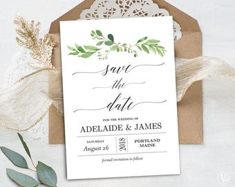 Wedding save the date template printable save the dates garden greenery save the date template printable save the date card wedding save the stopboris Images