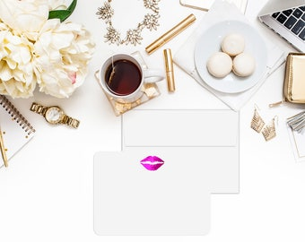 LIPS Gold Foil Flat Note Cards with (A6) Envelopes -Foil Stationary, Stationary Set, Great gifts
