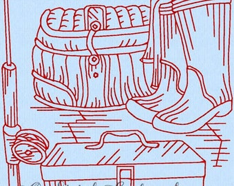 Redwork machine embroidery pattern.  Gone fishing 7 of 10. **Instant Download**  3 sizes